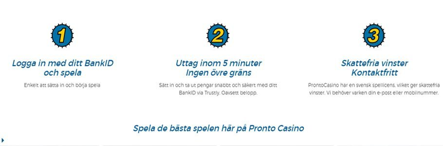 Registrerings steg hos Pronto Casino