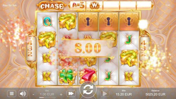 Spelplan för slotspelet The Golden Chase