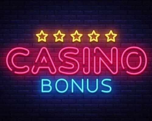 Casino Bonus som neonskylt med fem stjärnor ovanför