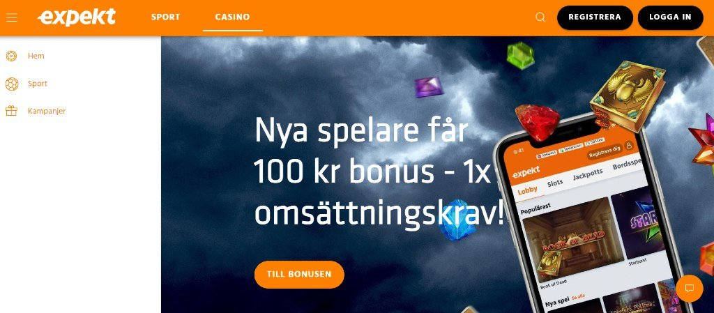Expekt casinos hemsida från dator