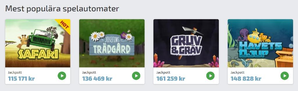 Populära spel hos Lyckost casino