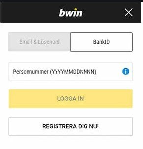 Bwin login med hjälp av Bank-ID