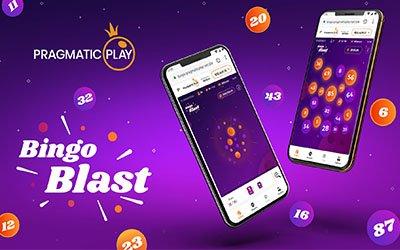 Bingo Blast-reklam från Pragmatic Play med spelet från två mobiltelefoner