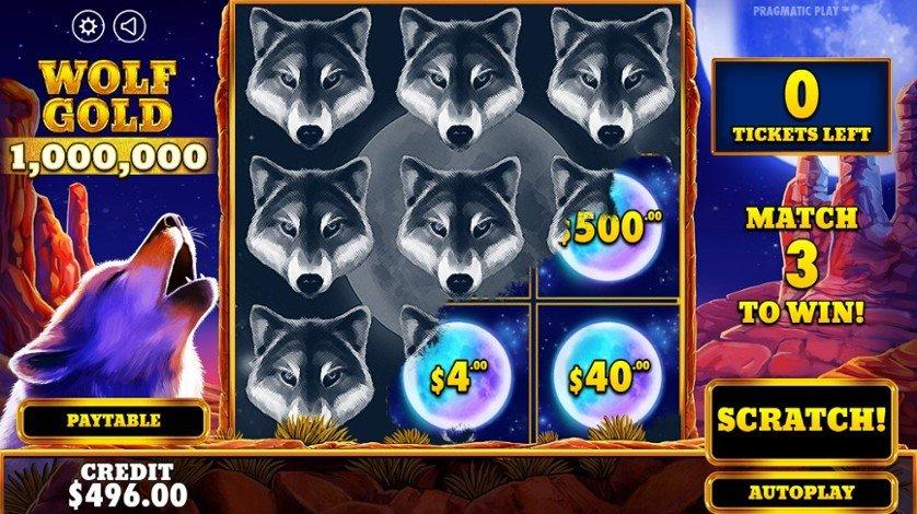 Spelplan för Wolf Gold, ett skraplott-spel