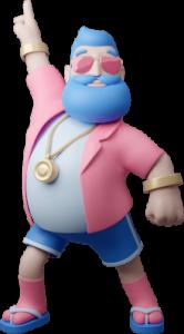 Frontfiguren för Casino Friday - en man med blått långt skägg, rosa solglasögon och en festlig stil