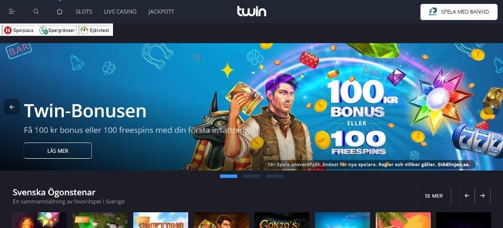 Twin casino hemsida med huvudmenyn tillsammans med utvalda speltitlar och nuvarande kampanj