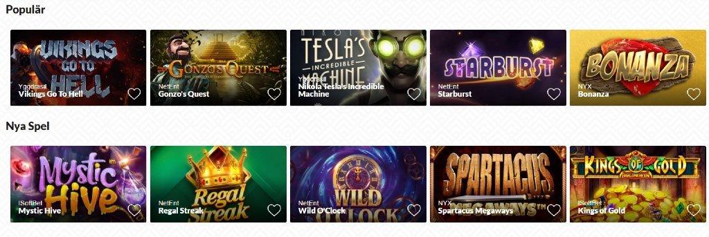 Olika spel på instantwest under kategorierna Populär och Nya Spel