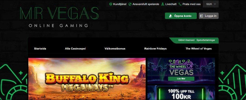 Första sidan på Mr Vegas casino