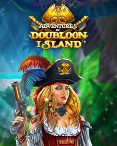 En kvinnlig blond pirat som håller upp en pistol med logon för Adventures of Doubloon Island över