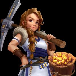 Vikinginspirerad kvinna med brunt hår och fläta håller en hacka brevid en hink med guld