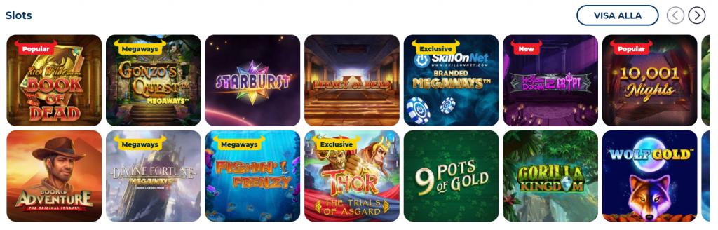 olika slotspel erbjudna på Playtoro Casino
