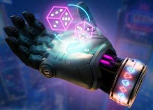 en svävande robothand som via hologram håller två tärningar i lysande neon färger