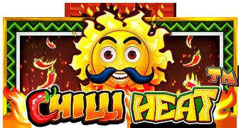 Tecknad sol med en svart mustach omringad av eldflammor framför texten Chilli Heat