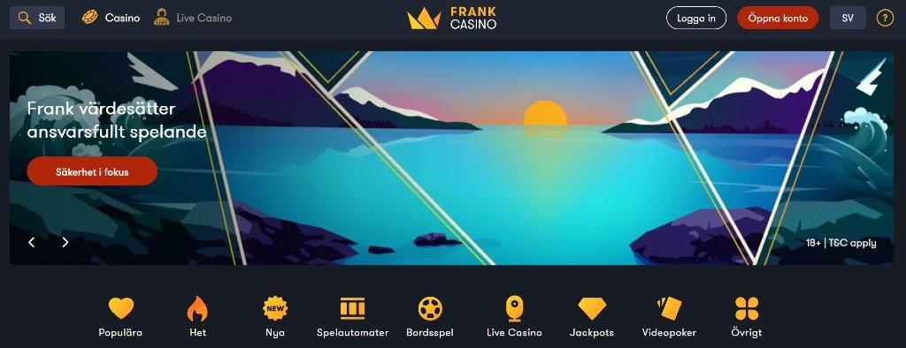 hemsida för Frank Casino med olika spelkategorier och knappar för att skapa konto
