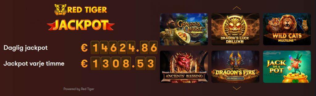 belopp för dagliga och timvisa jackpottar från Red Tiger Gaming