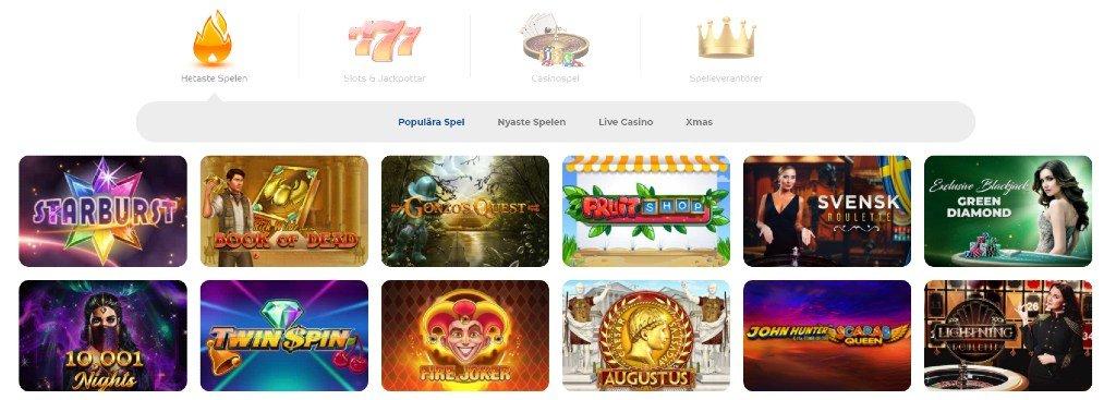 Spelkategorier och slots som visas på Pelaa Casinos hemsida