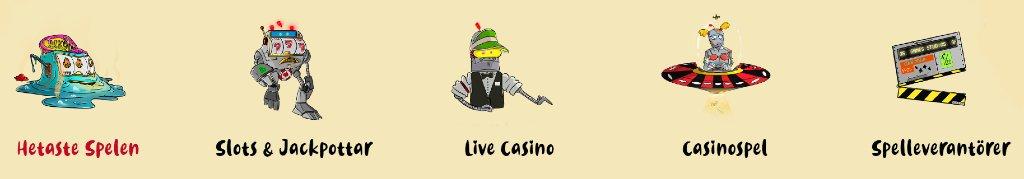 Spelkategorier hos Casoola casino
