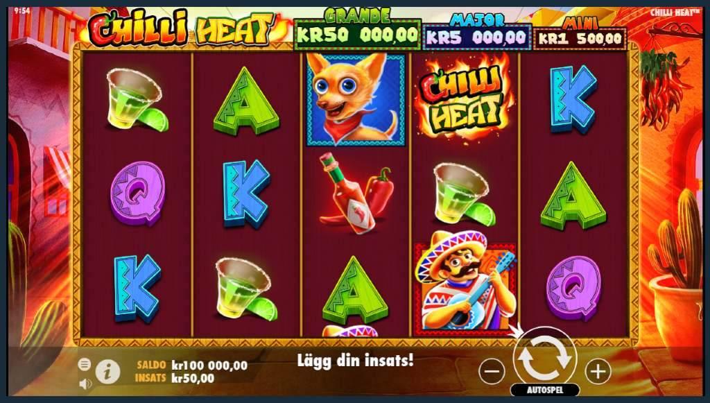 spelplanen för Chilli Heat som visar symboler på olika bokstäver, en chihuahua, tequila shot, en mexikansk man som spelar gitarr och tabasco
