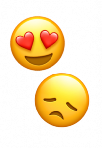 Smiley med hjärtögon och ledsen smiley för att symbolisera för- och nackdelar med Apple Pay