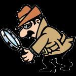 En man med mustach och rock som håller i ett stort förstorningsglas