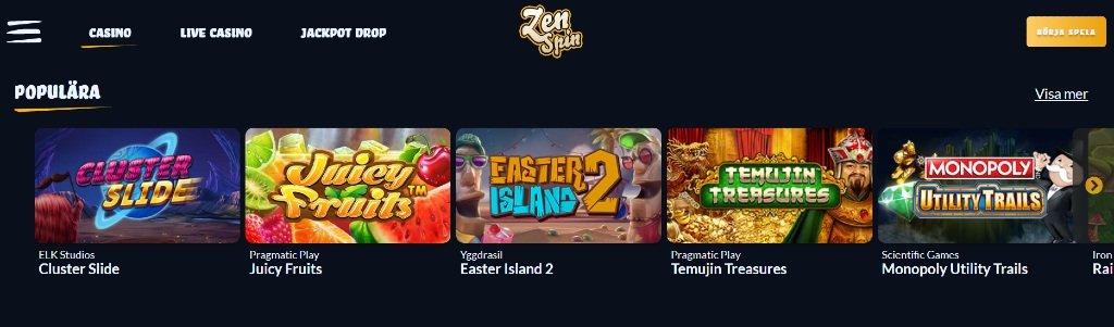 Spelutbud hos ZenSpin casino med utvalda slotspel