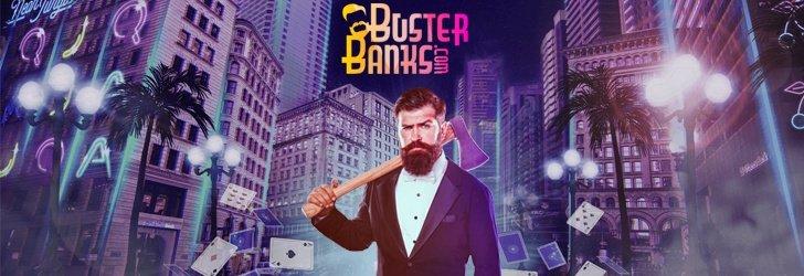 Frontfiguren för BusterBanks casino med svart kostrym och hållandes en yxa framför en upplyst storstad