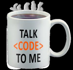 """en mugg med texten """"talk code to me"""""""