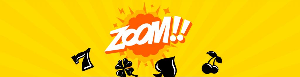 """Kazoom casino banner med ordet """"ZOOM"""" exploderande och olika spelsymboler"""
