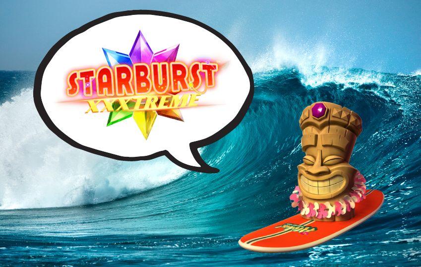 Spelkaraktären från Aloha slot presenterar Starburst XXXtreme free spins och surfar på en våg